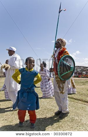 Ethiopian Girl Dancing With A Tradition Ethiopian Tribal Man