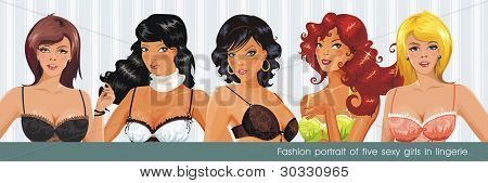 Fashion portrait of five sexy girls in lingerie. Vector illustration.