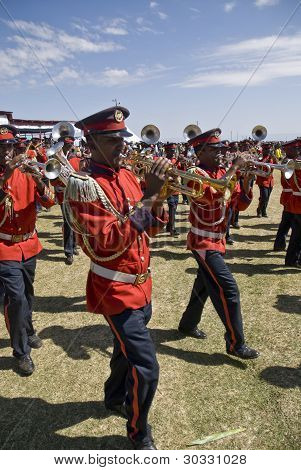 Trumpeters From The Ceremonial Marching Band Marching Past At The World Aids Day Event In Fitche