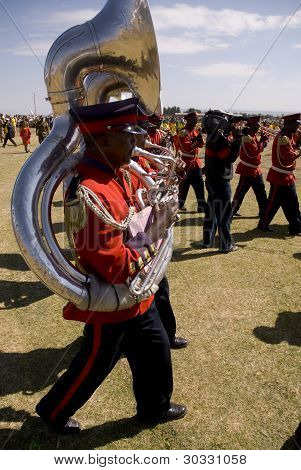 Uphomium Player From The Ceremonial Marching Band Marching Past At The World Aids Day Event In Fitch