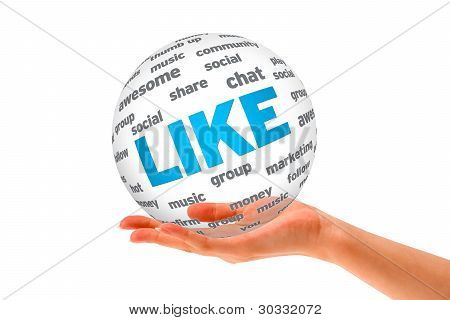 Hand Holding A Like 3D Sphere