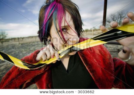 Punk Girl Biting Caution Tape