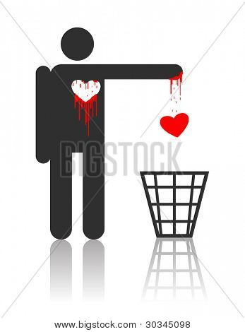 Character throwing out his bloody heart, concept for St. Valentines day