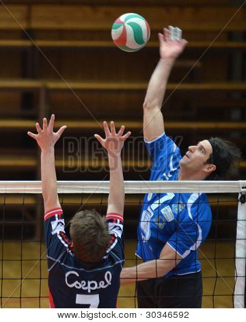 KAPOSVAR, HUNGARY - FEBRUARY 23: Andras Geiger (R) in action at a Hungarian volleyball National Championship game Kaposvar (blue) vs. Csepel ( deep blue), on February 23, 2012 in Kaposvar, Hungary.
