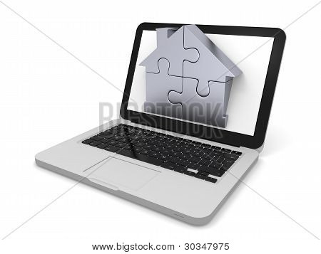 Home Jigsaw On Laptop Screen
