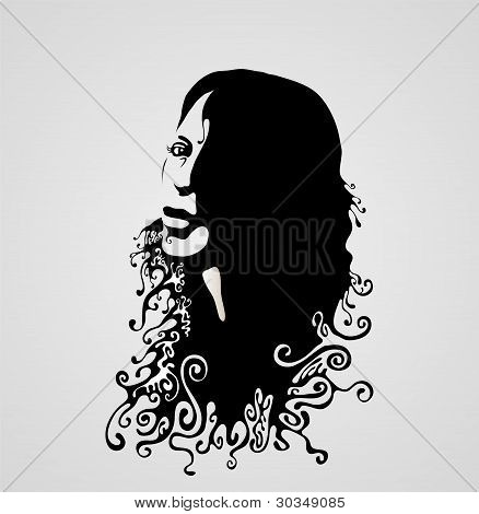 Woman's Swirly Face Silhouette. Vector Illustration