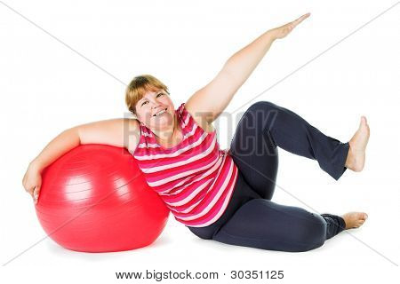 fat woman with big red gymnastic ball
