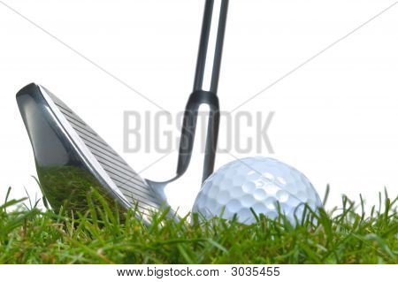 Golf Ball Rough Iron Shot