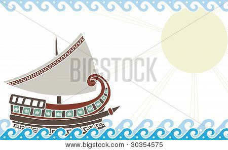 greek ship in ocean