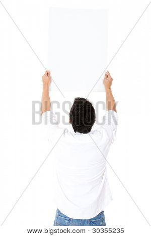 Rear view of man holding at a banner - isolated over a white background