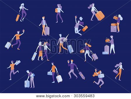 poster of Different People Travel On Vacation. Tourists With Laggage Travelling With Family, Friends And Alone