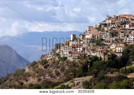 Greek Village On Mountain