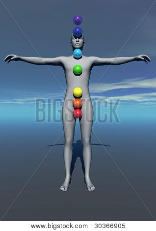 Human And Chakras Colors