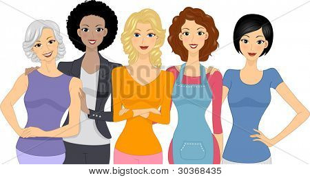 Illustration of a Diverse Group of Women