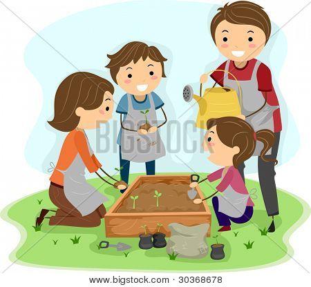 Ilustración de una familia de plantar plantas juntos
