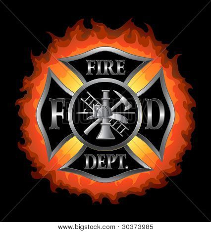 Fire Department Maltese Cross With Flames