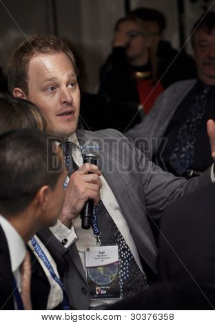 LONDON - JANUARY 30: Nigel Bowen at a working meeting during the 59th UICH les Clefs d'Or International Congress at the Sheraton Park Lane on January 30, 2012 in London