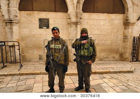 JERUSALEM - FEBRUARY 17: Members of the Israeli Border Police in the Old City February 17, 2012 in Jerusalem, Israel. They are deployed for law enforcement in the West Bank and Jerusalem.