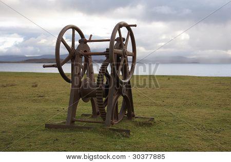 Rusty Old Winch Seaside In Scotland
