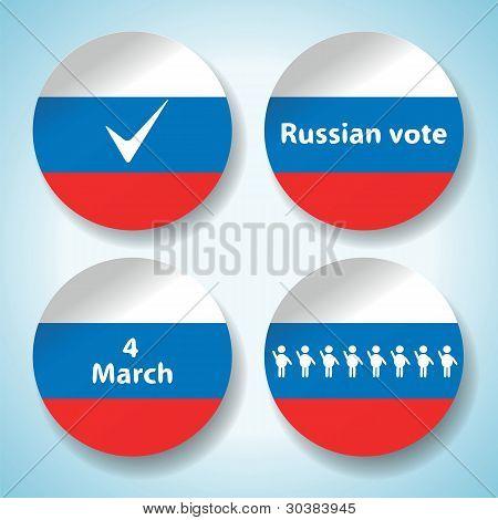 Conjunto de adesivos de eleição presidencial da Rússia em
