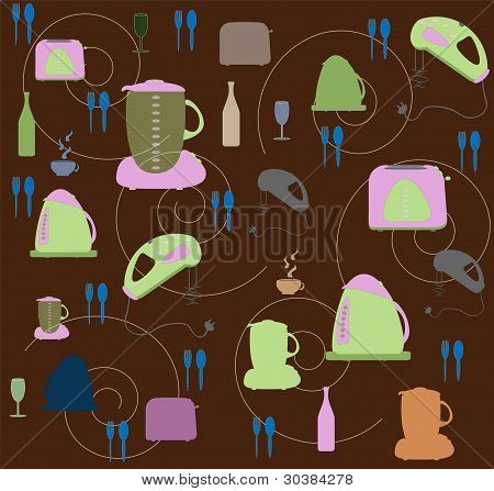 Seamless wallpaper with utensils and kitchen tackle vector