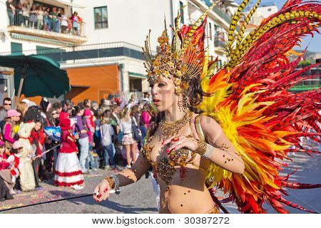 Sesimbra, Portugal - February 20: Samba Dancer In The Sesimbra Carnival - Equal To The Brazilian Car