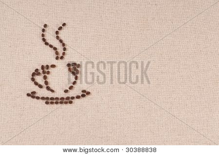 Coffee Beans Forming A Plate, Cup And Steam