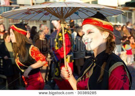 SESIMBRA, PORTUGAL - FEBRUARY 20: Participant in the Sesimbra Carnival