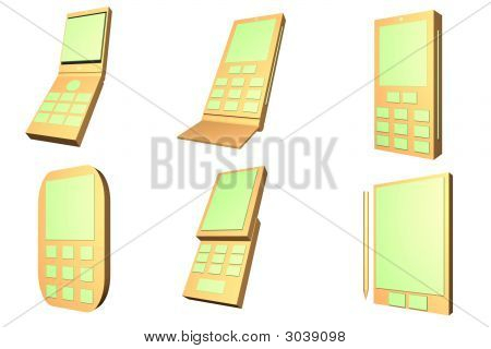 Mobile Phone Designs Type Icons Set