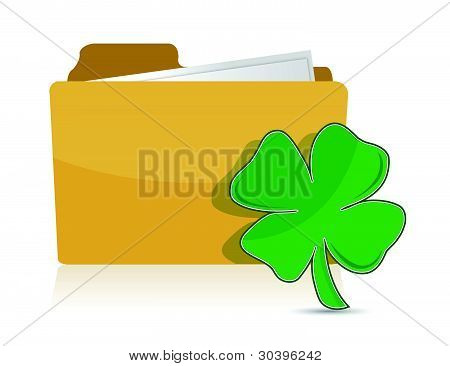 Yellow folder icon with clover illustration design over white