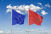European Union Vs Morocco. Thick Colored Silky Flags Of European Union And Morocco poster