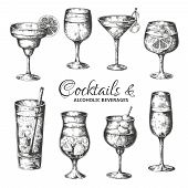 Hand Drawn Cocktails. Vintage Glasses With Liquors And Alcoholic Drinks, Summer Drinks Sketch Menu.  poster