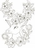 Drawing Deer With Magnolia And Apple Blossom In Zentangle Style For Adult Coloring Pages. Stylized I poster