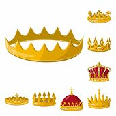 Isolated Object Of Monarchy And Gold Logo. Set Of Monarchy And Heraldic Stock Vector Illustration. poster