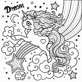 Unicorn And Star Drawn Vector Illustration For Coloring Book. Vector poster