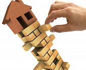 image of jenga  - 3d Illustration of the housing market recession - JPG