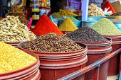 Traditional Spices At The Market Marrakesh, Morocco poster