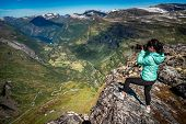 Geiranger Fjord Beautiful Nature Norway, a UNESCO World Heritage Site. Nature photographer tourist w poster
