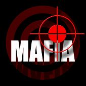 stock photo of crossed pistols  - Black background with red target and mafia inscription - JPG