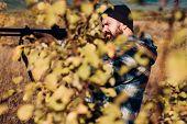 Autumn Hunting Season. Hunter With Shotgun Gun On Hunt. Hunter In The Fall Hunting Season. Hunter Ai poster