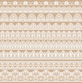 Horizontally Seamless Beige Lace Background With Lace Ribbons poster