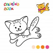Coloring Page Outline Of Cartoon Fluffy Cat. Coloring Book For Kids poster