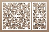 Laser Cut Panel. Set Decorative Card For Cutting. National Ethnic Mandala Pattern. Ratio 1:1, 1:2. V poster