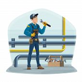 Plumber And Water Pipes, Plumbing Repair Service Worker With Work Tools. Vector Plumber, Water And G poster