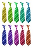 Ten multi-colored tie isolated