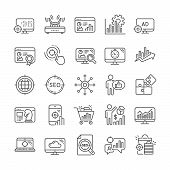 Seo Line Icons. Set Of Business Ad Strategy, Increase Sales And Website Optimization Icons. Puzzle,  poster