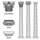 A Set Of Antique Greek Historical Columns And Capitals For Them: The Ionic, Doric And Corinthian Cap poster