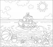 Funny Ship Floating In Water And Other Baby Toys On Sand Of A Sea Beach On A Sunny Summer Day, Black poster
