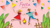 Festa Junina Festival Design On Paper Art And Flat Style With Party Flags And Paper Lantern, Can Use poster