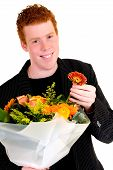 Teen With Bouquet Of Flowers